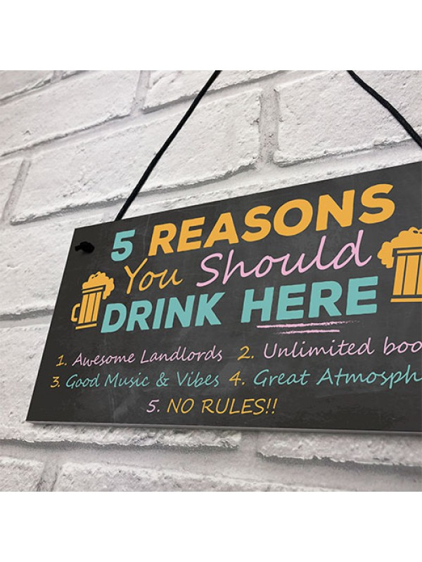 DRINK HERE Bar Sign Garden Plaque Landlord Gift Man Cave Sign