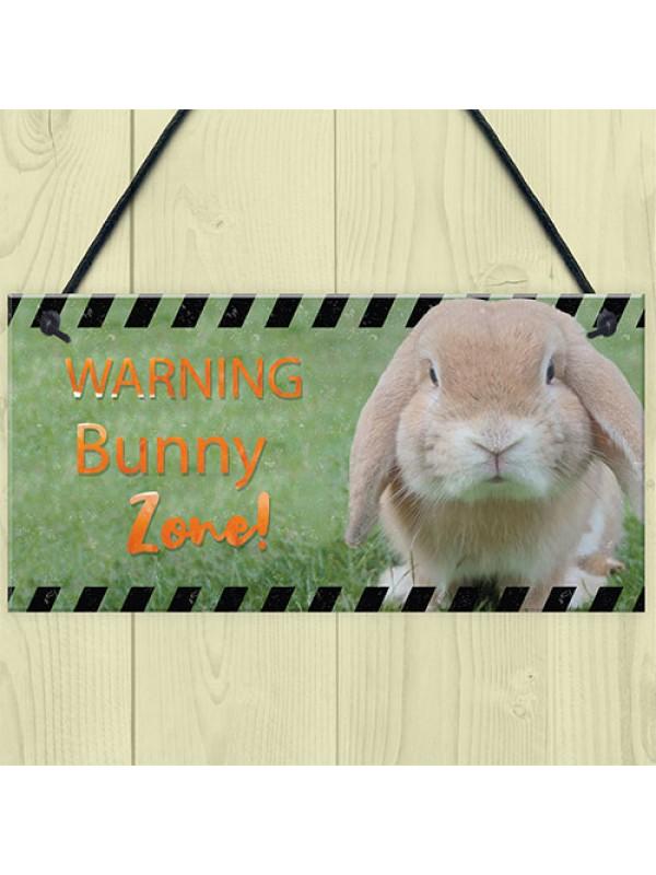 Funny Bunny Zone Rabbit Lover Gift Ideas Door Hutch Rabbit Sign