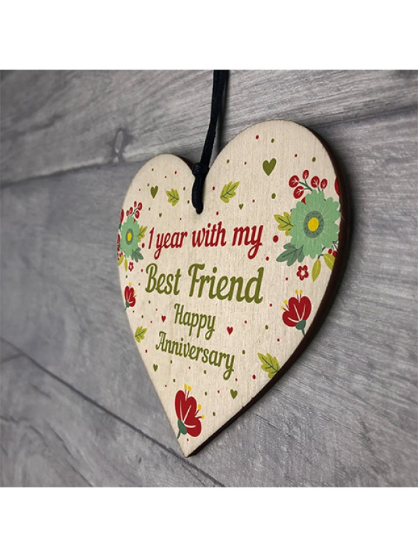 1st Wedding Anniversary Gift For Husband Wife Wooden Heart Gifts