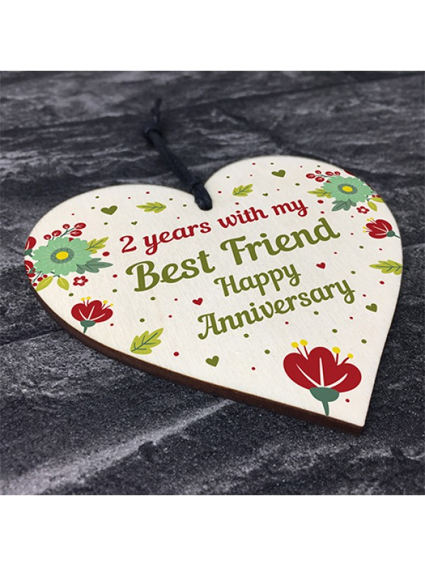 2nd Wedding Anniversary Gift For Husband Wife Wooden Heart Gifts