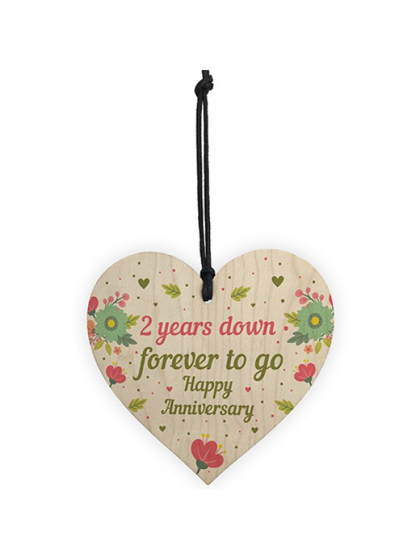 Funny 2nd Wedding Anniversary Gift Wooden Heart Husband Wife