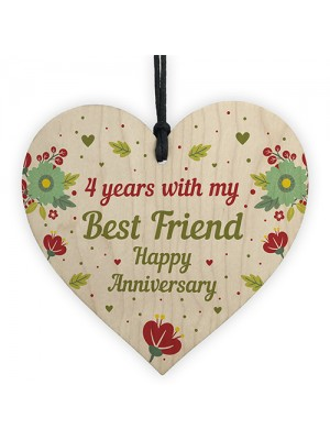 4th Wedding Anniversary Gift For Husband Wife Wooden Heart Gifts