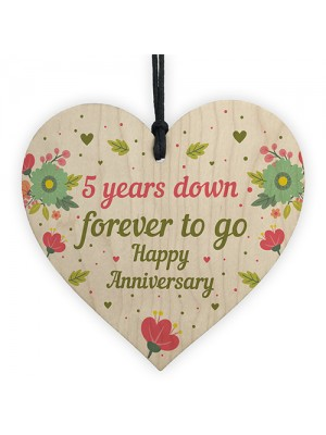 Funny 5th Wedding Anniversary Gift Wooden Heart Husband Wife