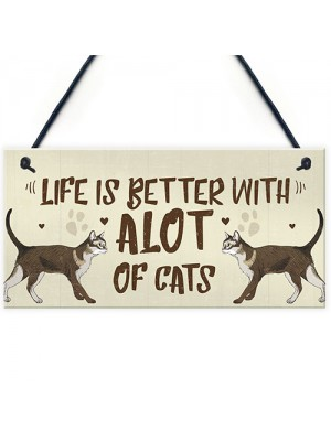 Alot Of Cats Sign Home Funny Crazy Cat Lady Sign Cat Lover Gift