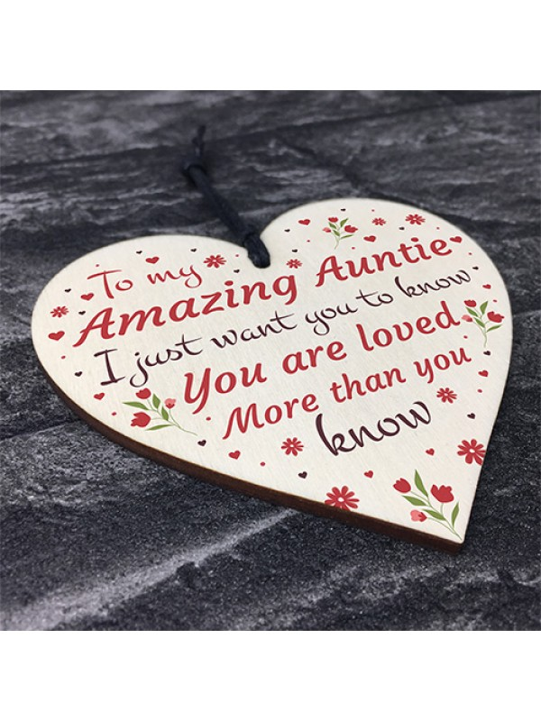 Amazing Auntie Gift Wood Heart Christmas Birthday Gift For Aunt