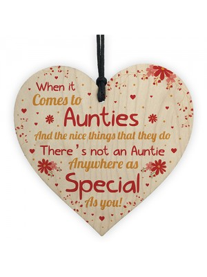 Special Auntie Gift Wood Heart Christmas Birthday Gift For Aunt