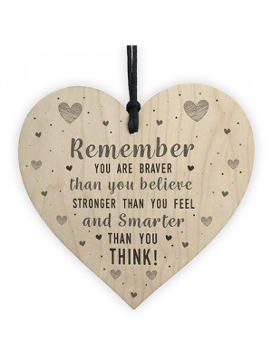 Stronger Inspirational Wooden Heart Friendship Gifts Love Signs