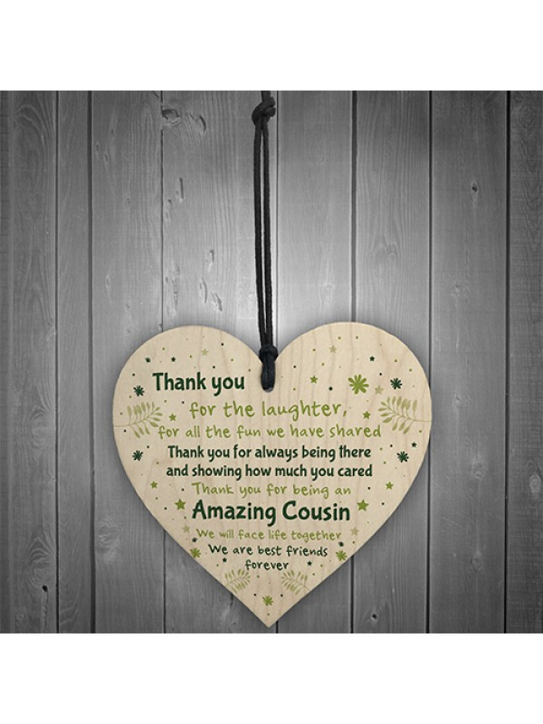 Thank You Gift For Cousin Wood Heart Cousin Birthday Christmas
