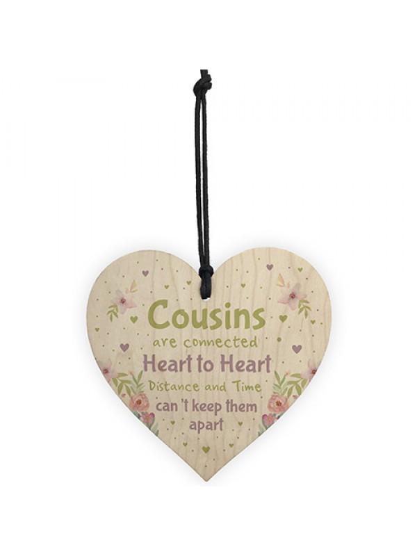 Birthday Christmas Gift For Cousin Wooden Heart Girl Boy Family