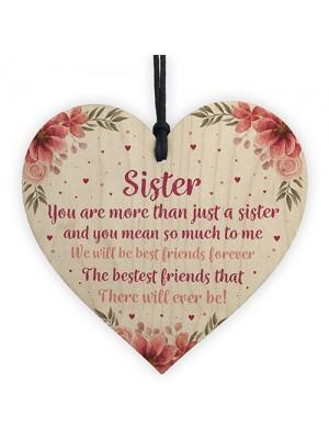 Best Friend Gift Sister Gift Wood Heart Sister Birthday Gift