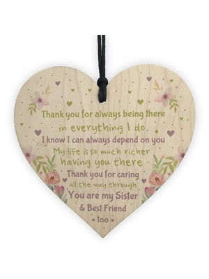 Thank You Gift For Sister Wood Heart Birthday Xmas Gift Sister