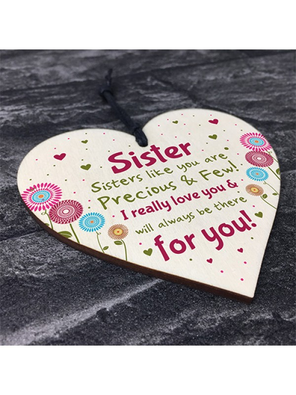 Sister Gifts From Sister Brother Wood Heart Sister Birthday Xmas