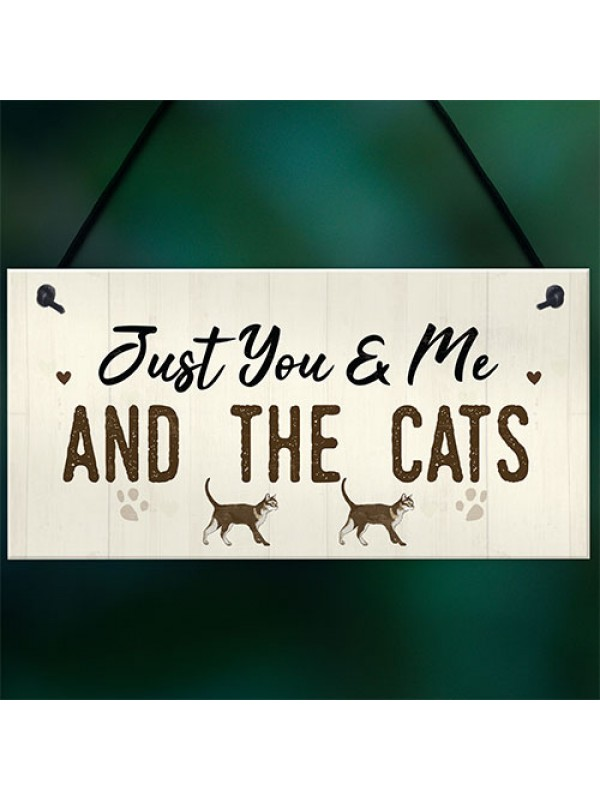 You Me And The Cats Sign Home Funny Crazy Cat Lady Sign Pet Gift