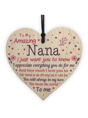 Cute Nana Wood Heart Nan Birthday Christmas Gift From Grandchild