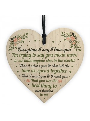 I Love You Plaque Wood Heart Special Anniversary Birthday Gift