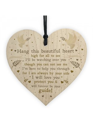 Mum Dad Nan Memorial Christmas Tree Decoration Wood Heart Bauble