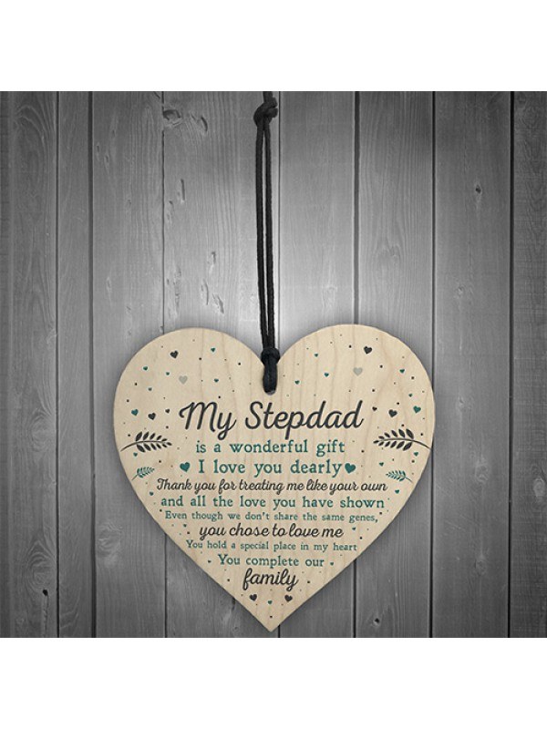 Step Dad Birthday Christmas Gifts From Daughter Son Wood Heart