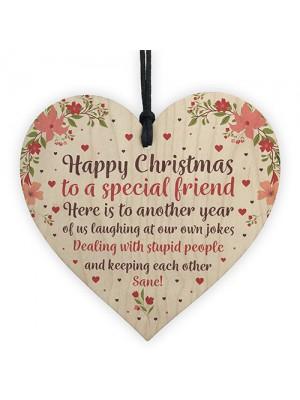 Christmas Gift Wood Heart Sign Novelty Friendship Gift Friend