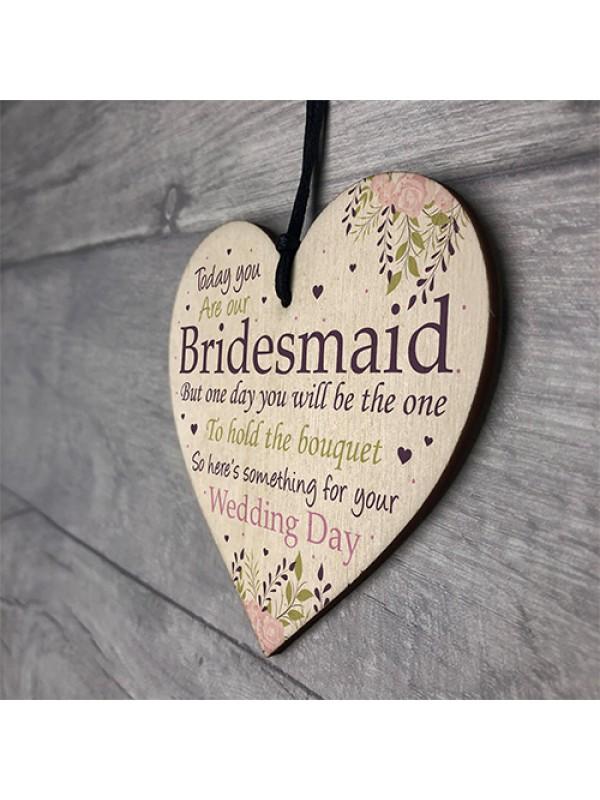Bridesmaid Wedding Gift Thank You Wooden Heart Bouquet Decor