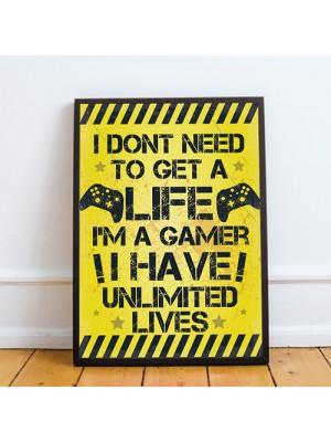 Yellow Gamer Print Framed Gift For Boy Bedroom ManCave Xmas Gift