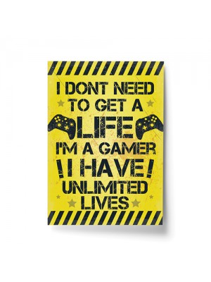 Yellow Gamer Print Gift For Boys Bedroom Man Cave Xmas Son Gift