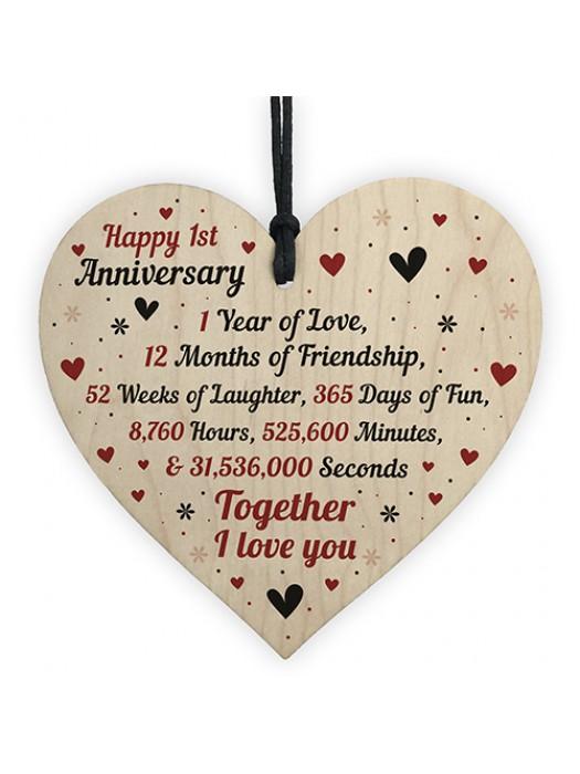 1st Wedding Anniversary Gift For Him Her Wood Heart Keepsake