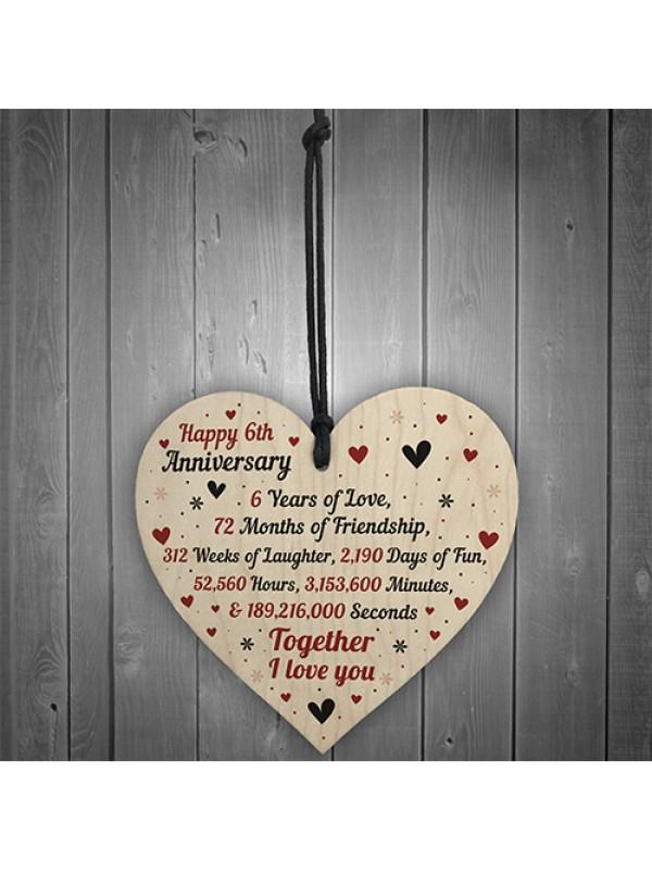 6th Wedding Anniversary Gift For Him Her Wood Heart Keepsake