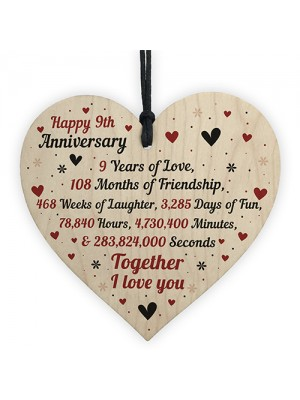 9th Wedding Anniversary Gift For Him Her Wood Heart Keepsake