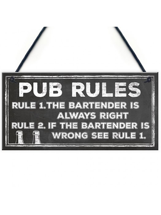 Funny Pub Sign Pub Rules Plaque Gift For Landlord Pub Owner Gift