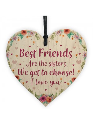 Best FRIEND Sister Gifts Wooden Heart Birthday Christmas Gift