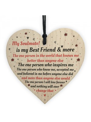 Soulmate Gift Wooden Heart Birthday Anniversary Gift For Him Her