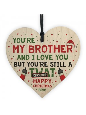 Funny Brother Christmas Gifts Tag Novelty Wood Heart From Sister