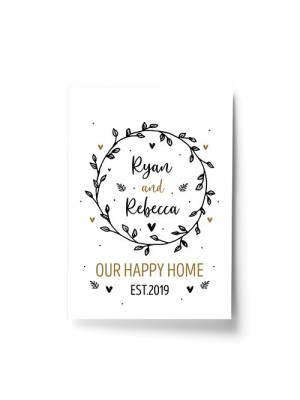 Happy Home Print Personalised New Home 1st Home House Warming