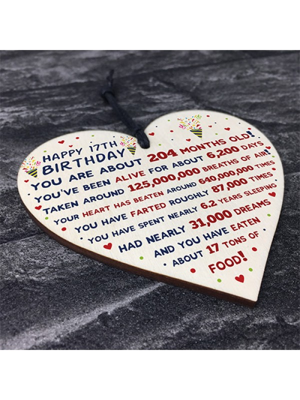 17th Birthday Gift For Daughter Son 17th Birthday Facts Heart