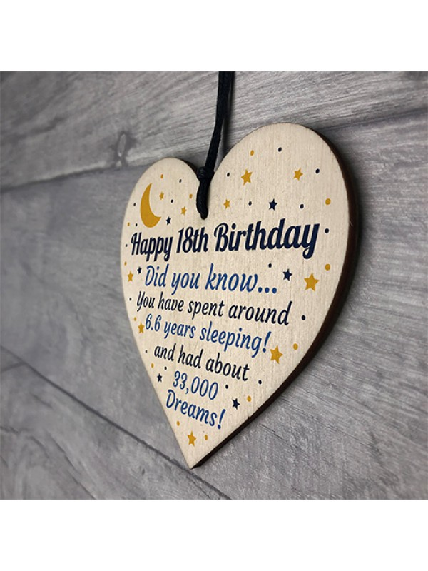 18th Birthday Card For Daughter Son Wood Heart Novelty 18th Gift