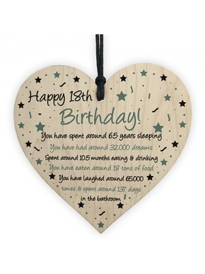 Funny 18th Birthday Gift For Daughter Son Wood Heart 18th Card