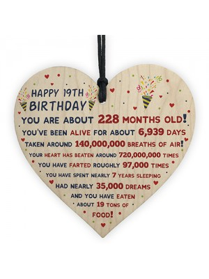 19th Birthday Gift For Daughter Son 19th Birthday Facts Heart