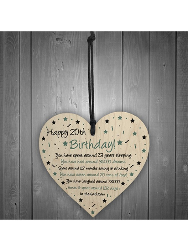 Funny 20th Birthday Gift For Daughter Son Wood Heart Card