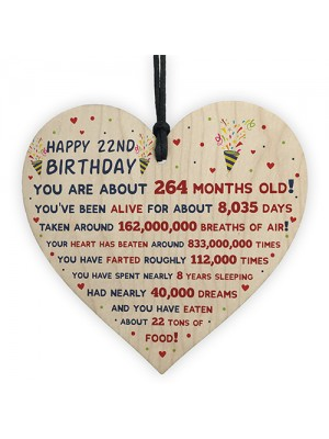 22nd Birthday Gift For Daughter Son 22nd Birthday Facts Heart