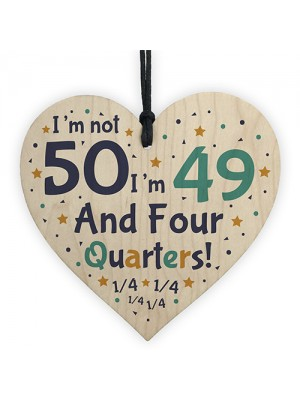 Handmade Wooden Heart 50th Brithday Novelty Gift For Friend