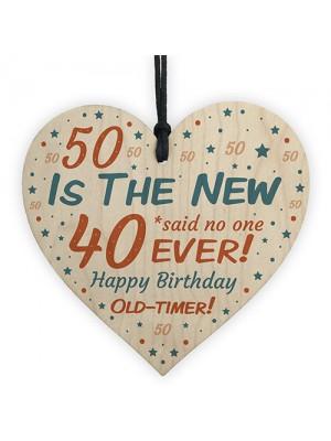 Happy 50th Birthday Wooden Heart Sign Novelty 50th Birthday Gift