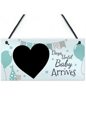 New Baby Countdown Plaque Chalkboard Sign Pregnancy Baby Shower