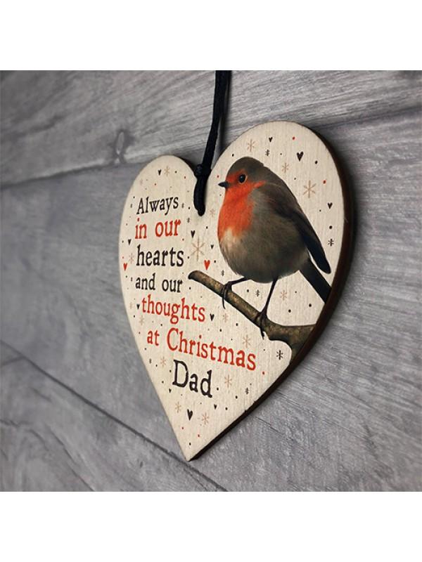 Christmas Robin Memorial Wood Heart Tree Decoration Dad Memorial