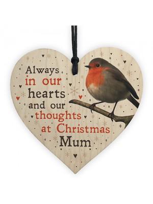 Christmas Robin Memorial Wood Heart Tree Hanging Decoration Mum