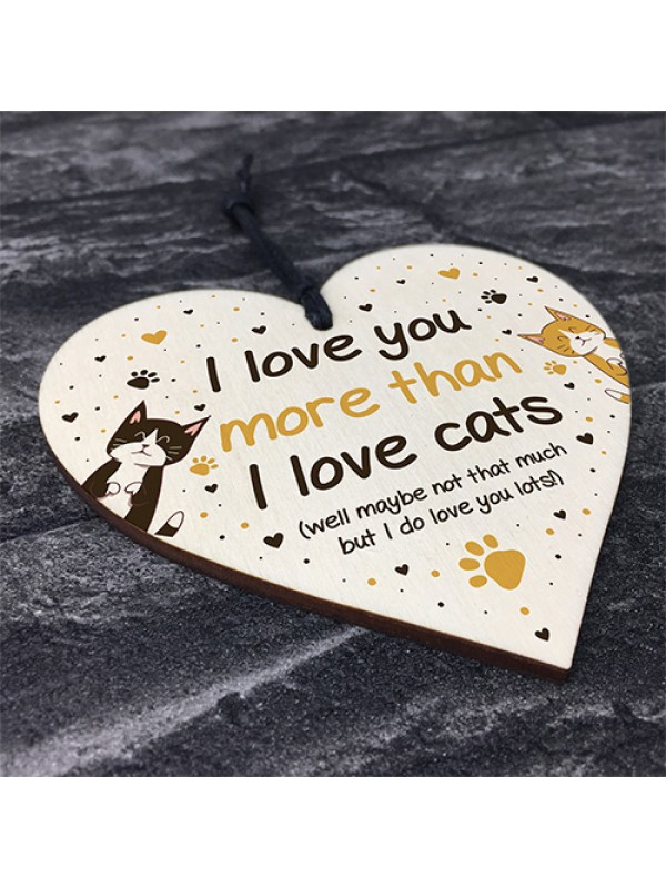 Funny Cat Gifts For Women Wood Heart Cat Sign Pet Gifts