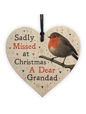hristmas Robin Memorial Wood Heart Grandad Memorial Gift Plaque