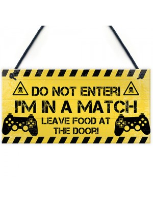 Gamer Warning Plaque Gaming Bedroom Accessories Novelty Sign