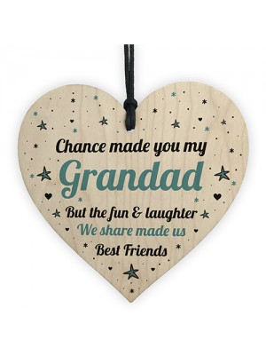 Grandad Gift For Best Friend Wood Heart Grandad Birthday Xmas