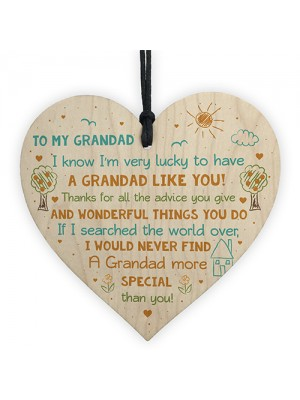 Special Grandad Poem Wood Heart Grandad Birthday Christmas Gift