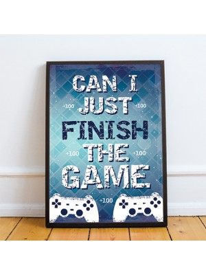 Blue Gaming Print Framed Gift For Gamer Son Dad Boys Bedroom